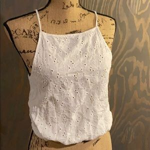 Brandy Melville white lace front top one size